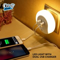 LED NIGHT LIGHT WITH DUAL USB CHARGER PORTS